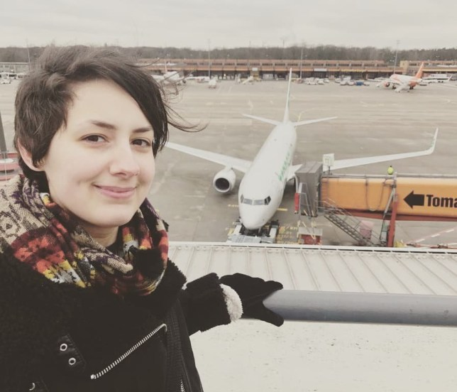 Michele standing in front of Schatz (3). MEET THE woman who claims she has never loved another person but has found love with a PLANE that she has been in a relationship with for nearly FIVE YEARS over which time she has slept with a model of the PLANE IN HER BED and says she loves his winglets and thrusters. Intimate pictures show saleswoman, Michele Kobke (29), from Berlin, Germany, kissing the door of a 737-800 Boeing plane that she calls ???Schatz???. Michele is pictured kissing the cockpit of a model of the plane on her bedroom floor, while other pictures show her hugging components of the actual plane in a park. She says she fell in love with the plane the first time she ???met him??? at Berlin Tegel airport and after nearly five years, she plans to marry him and move with him. MDWfeatures / Michele Kobke