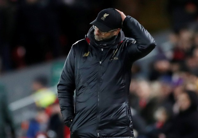 """Soccer Football - Premier League - Liverpool v Leicester City - Anfield, Liverpool, Britain - January 30, 2019 Liverpool manager Juergen Klopp during the match Action Images via Reuters/Carl Recine EDITORIAL USE ONLY. No use with unauthorized audio, video, data, fixture lists, club/league logos or """"live"""" services. Online in-match use limited to 75 images, no video emulation. No use in betting, games or single club/league/player publications. Please contact your account representative for further details."""