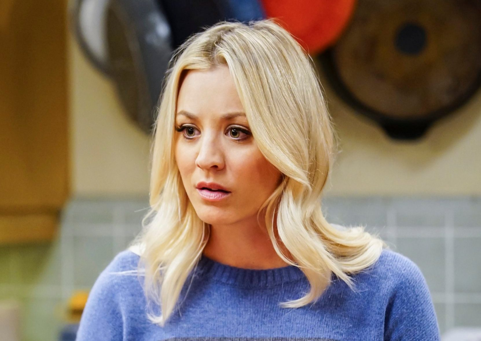 """LOS ANGELES - OCTOBER 24: """"The Tesla Recoil"""" -- Pictured: Penny (Kaley Cuoco). Leonard and Wolowitz are furious after they learn Sheldon went to work with the military behind their backs. Also, while Bernadette is on bed rest, she asks Raj to do some digging when she suspects Ruchi is trying to steal her job, on THE BIG BANG THEORY, Thursday, Nov. 16 (8:00-8:31 PM, ET/PT) on the CBS Television Network. (Photo by Sonja Flemming/CBS via Getty Images)"""