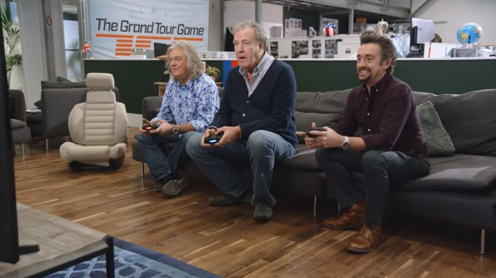 Jeremy Clarkson, Richard Hammond and James May face off to play The Grand Tour video game