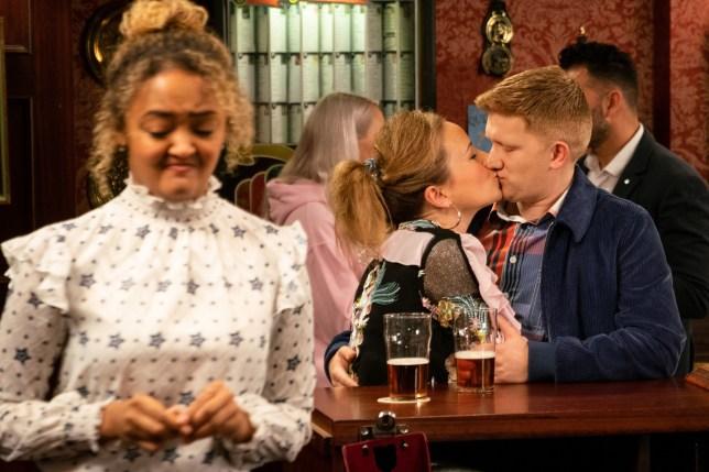 Chesney and Gemma kiss in Coronation Street