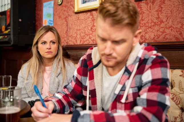 Mikey North as Gary Windass and Tina O'Brien as Sarah Platt in Coronation Street