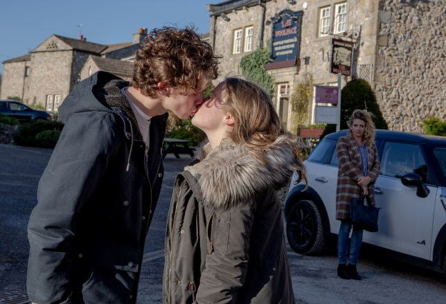 Jacob kisses Liv as Maya watches in Emmerdale