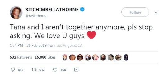 Bella Thorne and Tana Mongeau split after a year together