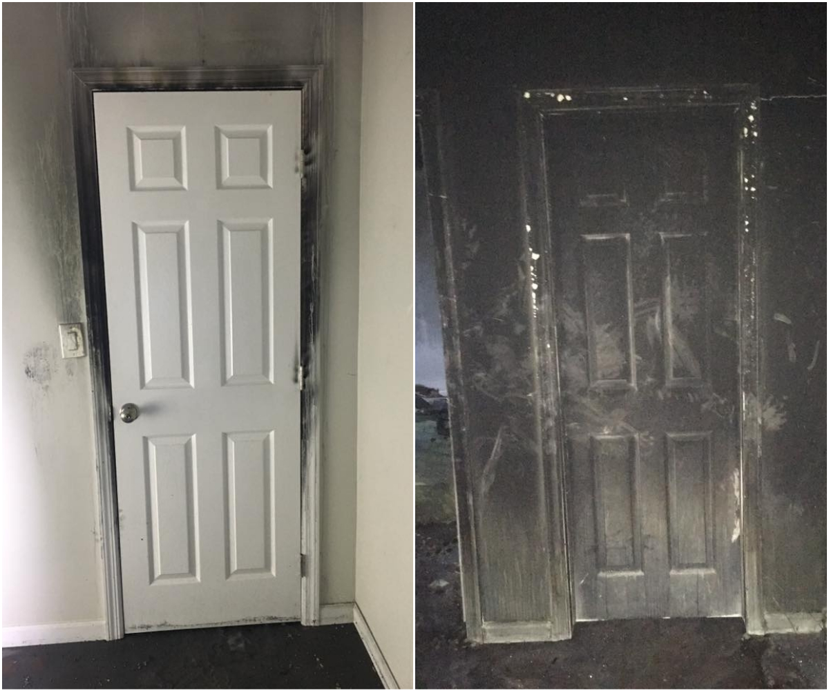 A door gives a powerful reminder about why it's important to close them when you go to bed (Picture: Fire department)