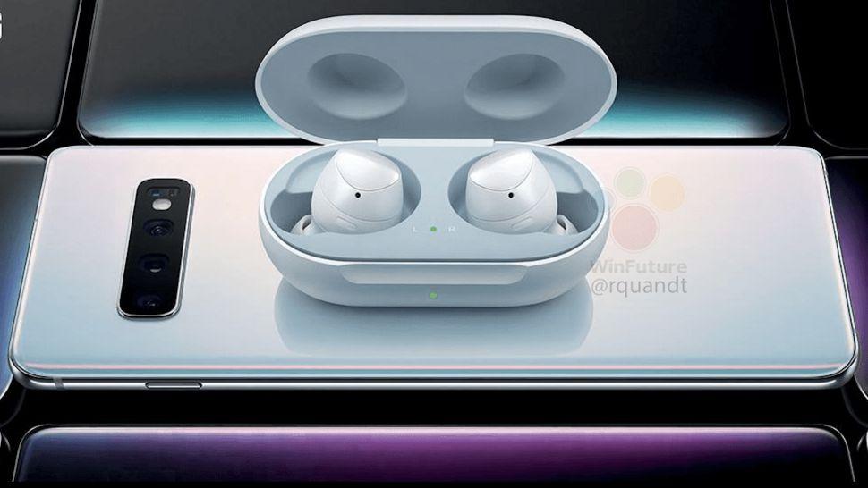 Samsung headphones charging on a Galaxy S10 smartphone