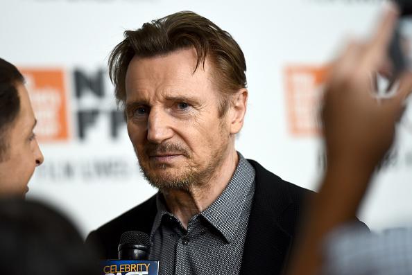 Liam Neeson being interviewed
