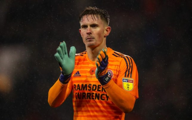 Goalkeeper Dean Henderson playing for Sheffield United