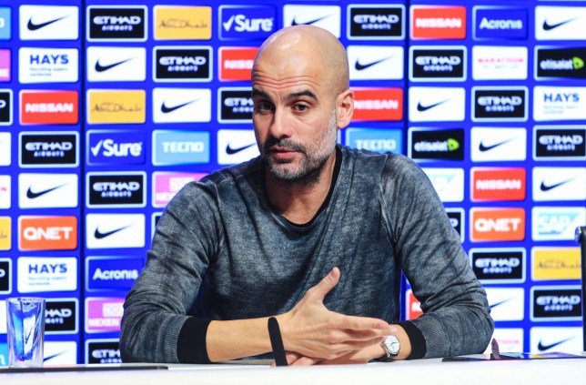 Manchester City manager Pep Guardiola speaking at a press conference
