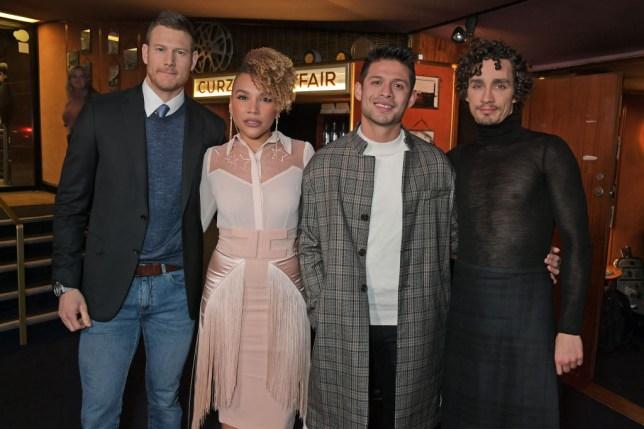 "Tom Hopper, Emmy Raver-Lampman, David Castaneda and Robert Sheehan attend a photocall for new Netflix series ""The Umbrella Academy"""