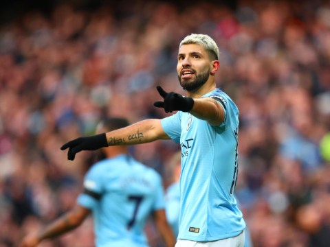 Sergio Aguero reacts to equalling Alan Shearer's hat-trick record
