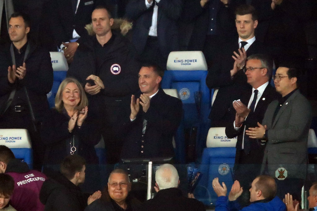 New boss Brendan Rodgers speaks to Leicester City players after win over Brighton