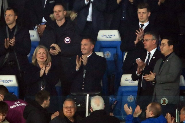 Brendan Rodgers spoke to his Leicester City players after beating Brighton on Tuesday night in the Premier League
