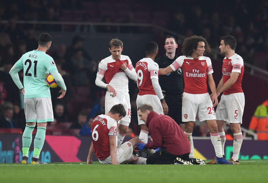 Laurent Koscielny could miss north London derby after suffering late injury blow in Bournemouth win