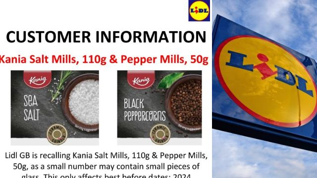 Lidl urgently recalls salt and pepper grinders that could contain glass