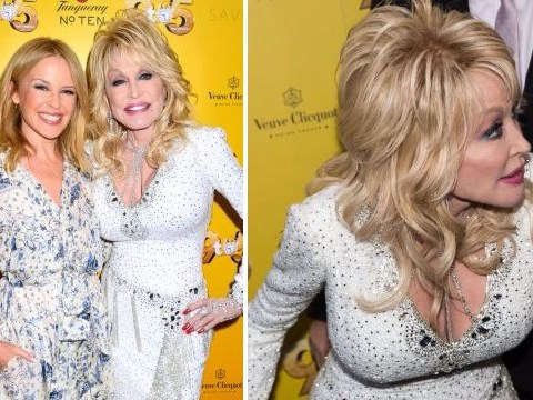 Kylie Minogue cuddles up with Dolly Parton at 9 To 5 musical evening gala