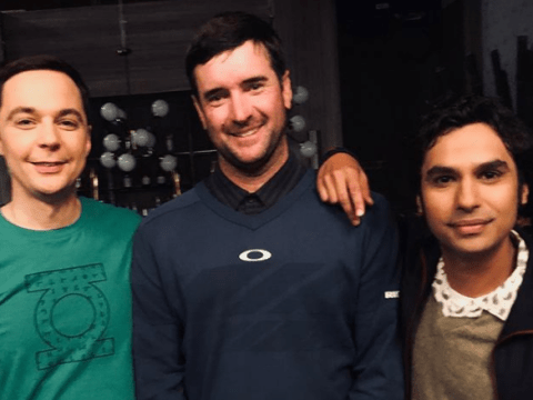 The Big Bang Theory's Jim Parsons and Kunal Nayyar joined by sporting legend Bubba Watson in behind the scenes pic