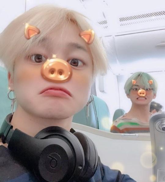 Jimin and V on plane