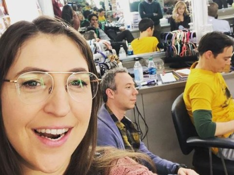 The Big Bang Theory star gets sneaky dressing room picture of the cast ahead of finale