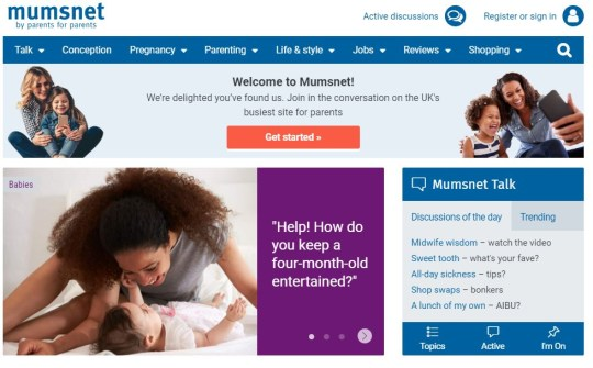 The Mumsnet home page