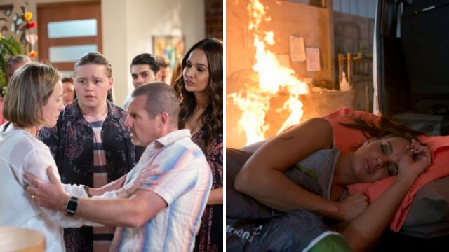 Sonya collapses in Callum's arms as a fire ravages the garage