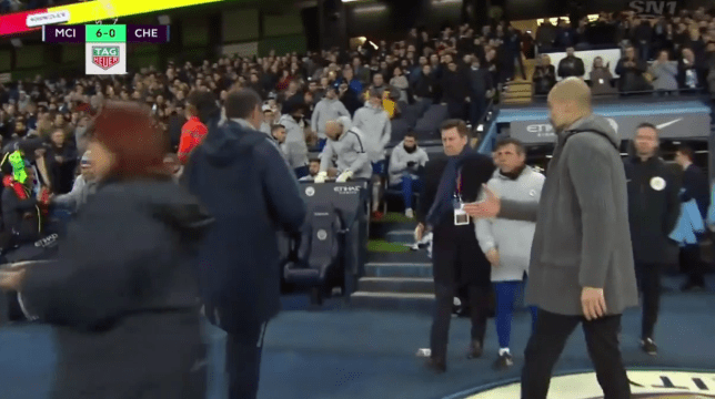 Maurizio Sarri snubbed Pep Guardiola's handshake and went straight down the tunnel after Chelsea's defeat