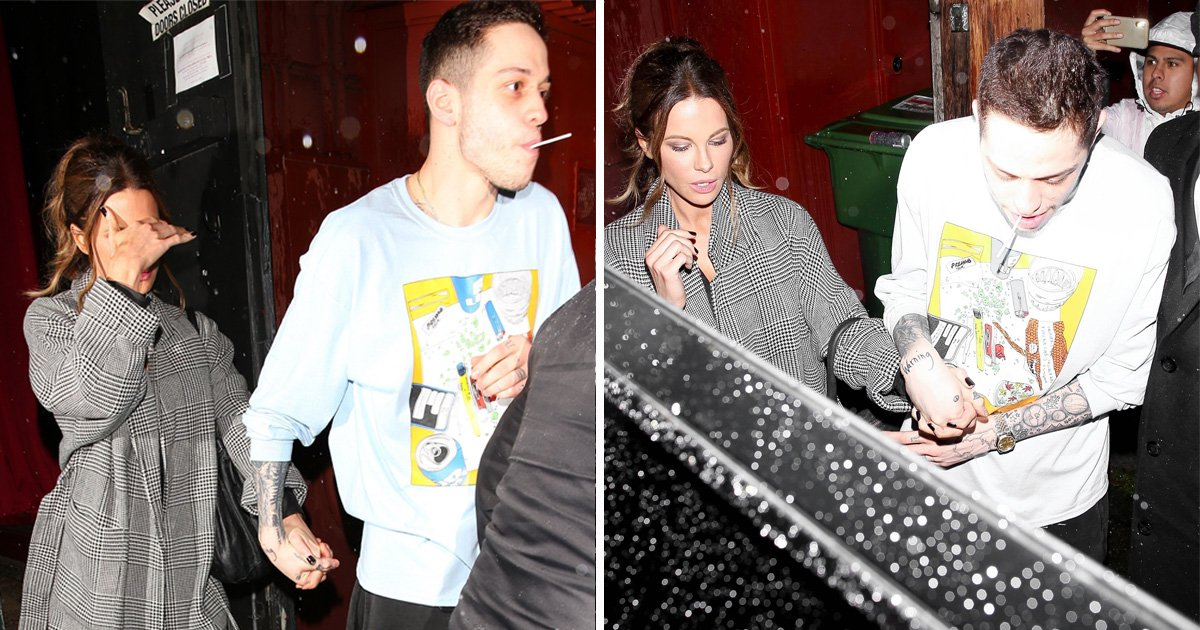 Pete Davidson, 25, holds hands with Kate Beckinsale, 45, as romance rumours continue to fly