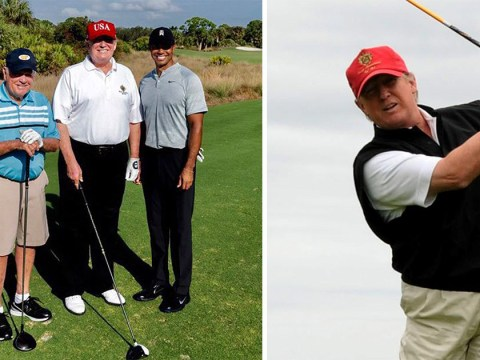 Donald Trump spends 155th golf day of presidency with Tiger Woods