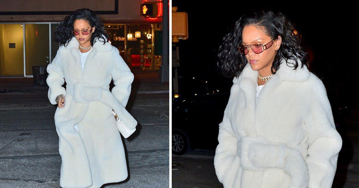 Rihanna rocks bathrobe chic ahead of 'album release' and we need this coat immediately