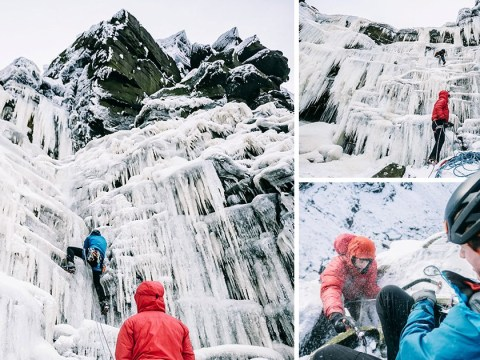 Daredevils brave the cold as they climb frozen waterfall
