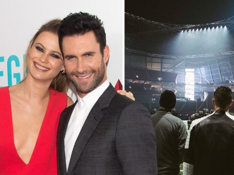 Behati Prinsloo cheers on husband Adam Levine at Super Bowl as shirtless performance causes a stir