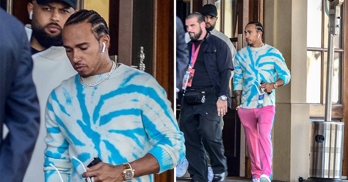 Lewis Hamilton is pretty in bright pink in case we didn't see him at Super Bowl