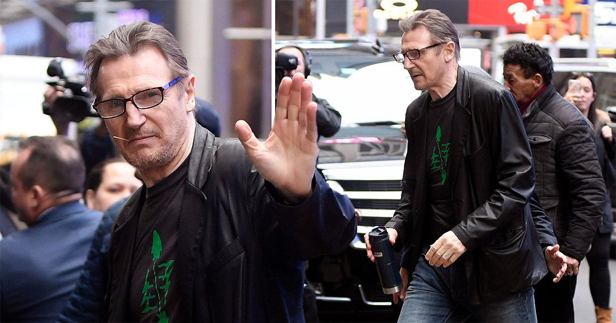 Liam Neeson waves at fans as he claims 'power walking' helped him beat racist thoughts