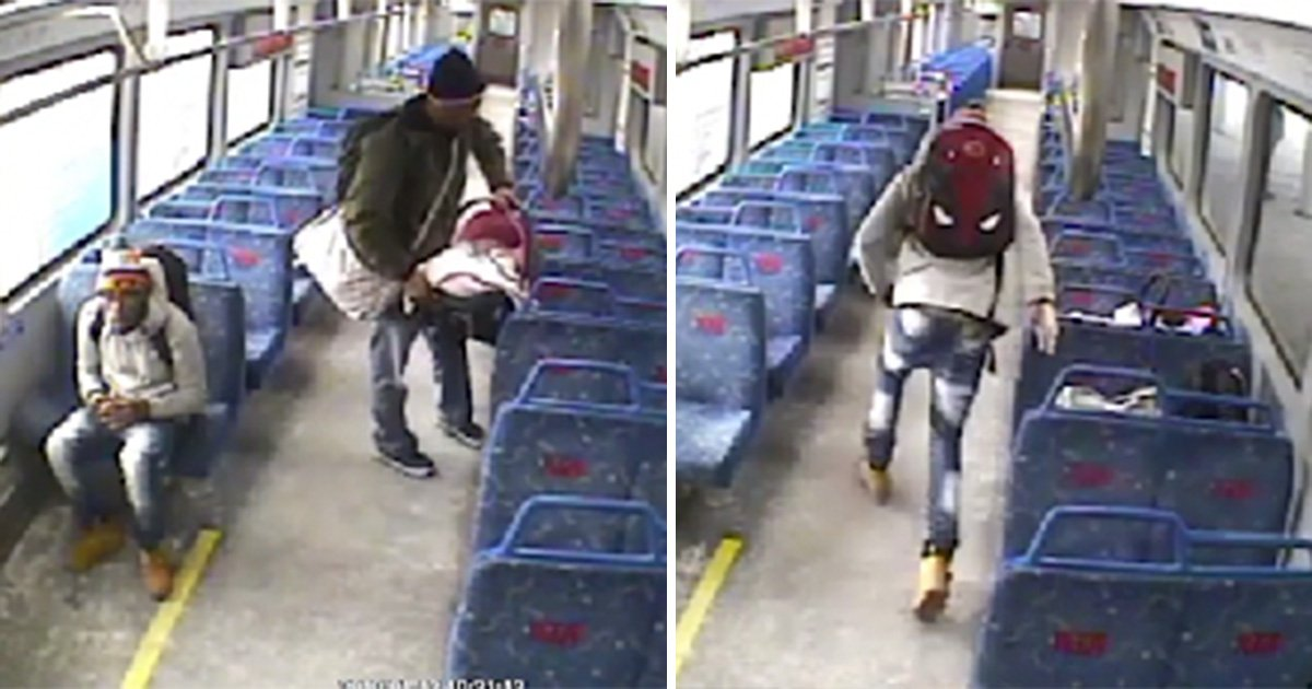 Dad leaves baby on train to go for a cigarette then watches it leave without him