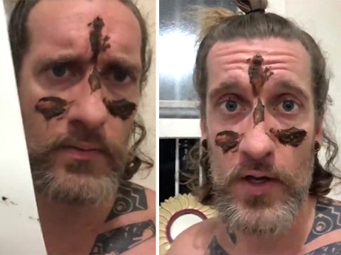 'Poo wizard' smears 'faeces' on his face to celebrate the male anus