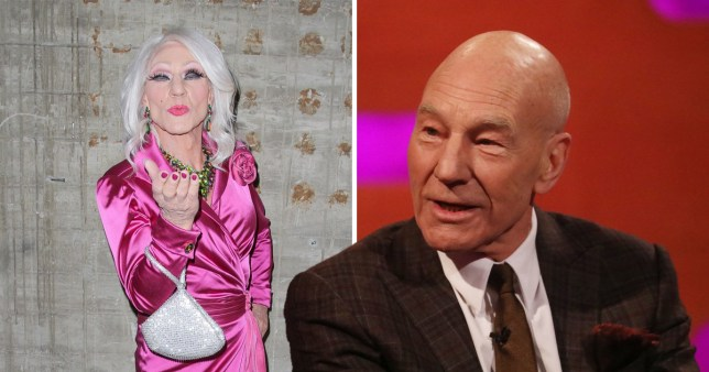 13f087967e Patrick Stewart s drag alter ego Patty Le Stew was unveiled (Picture  BBC)
