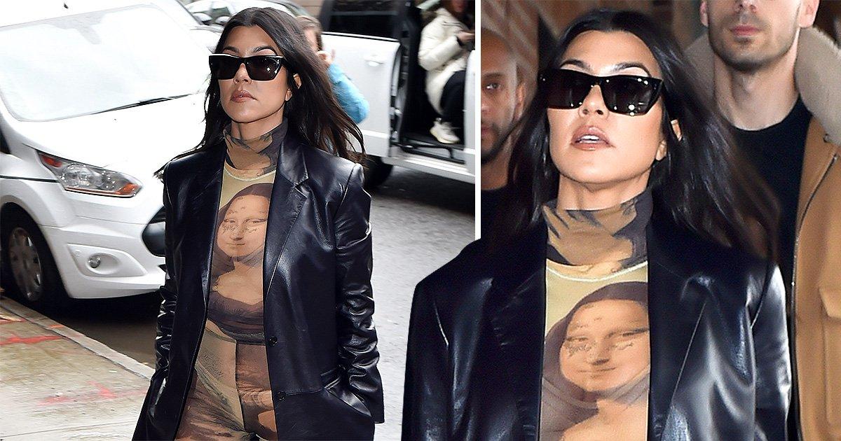 Kourtney Kardashian proves her art credentials as she hits up NYFW in Mona Lisa bodysuit