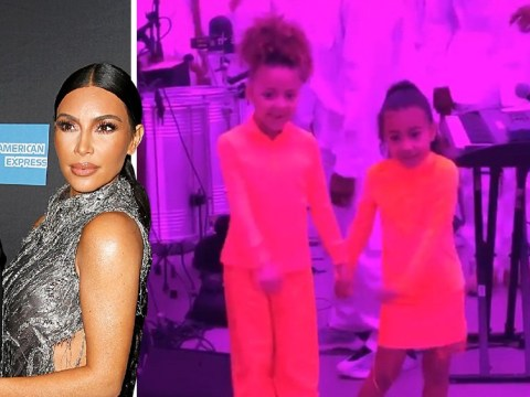 North gets into the spirit as she flosses at Kanye West's church service and it's everything
