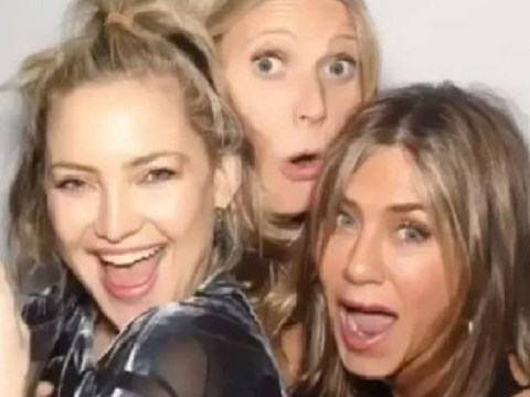 Jennifer Aniston squeezes into a photobooth with Gwynie and Kate Hudson in rare return to social media