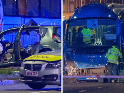 Two dead after car crashes into coach during police chase on A40