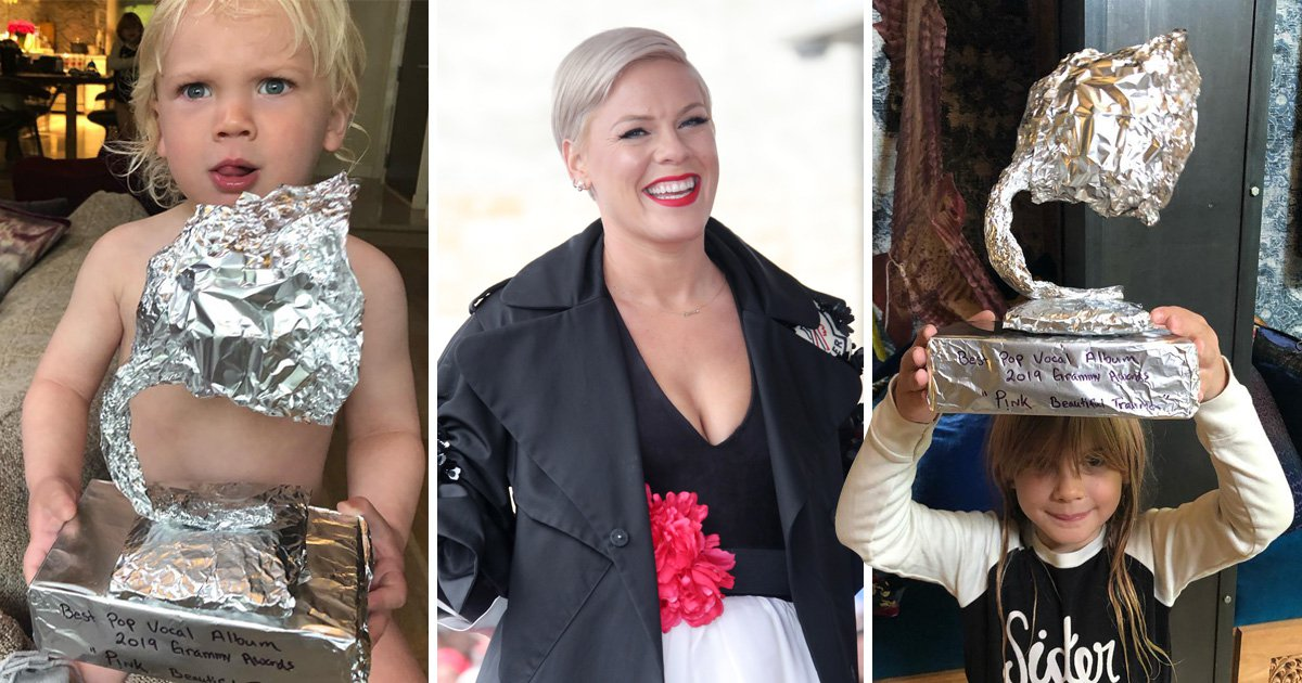 Pink's children make her a homemade Grammy after she loses out to Ariana Grande