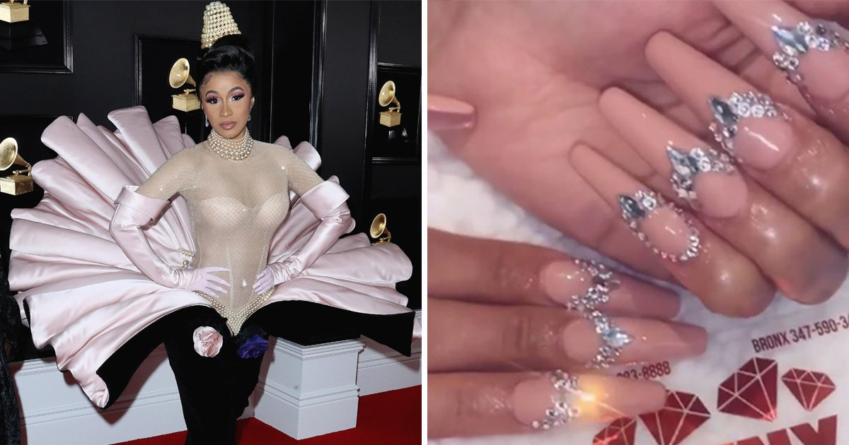 Cardi B wore 200 Swarvoksi crystals on her nails for Grammys – but hid them with gloves