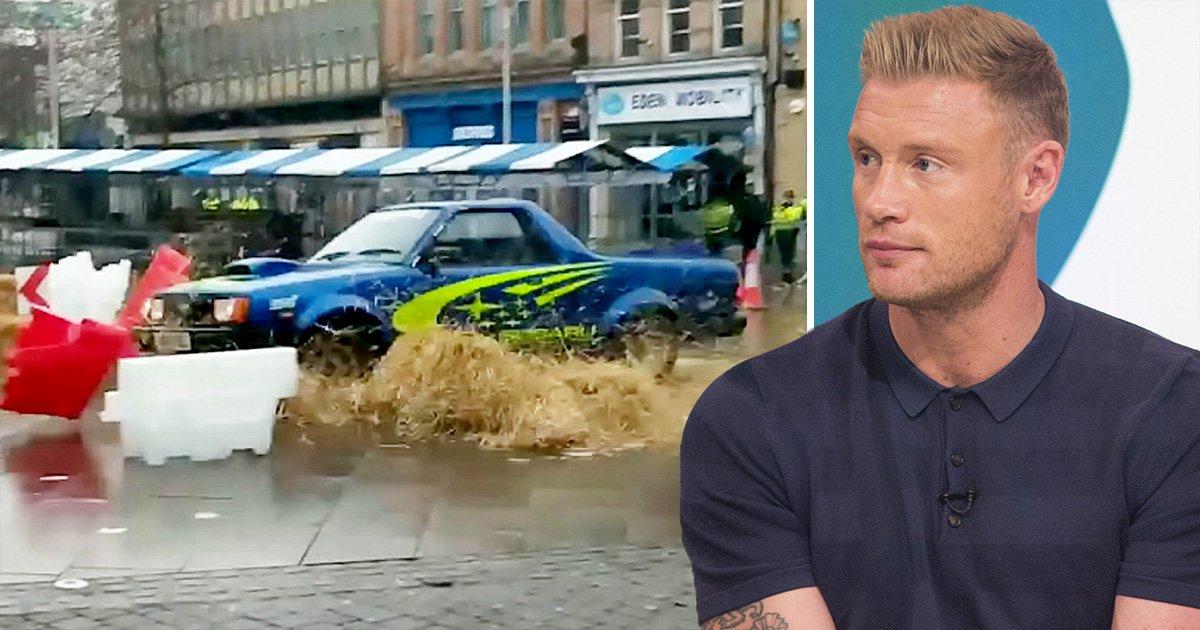 Top Gear smash as Freddie Flintoff loses control of his car during filming