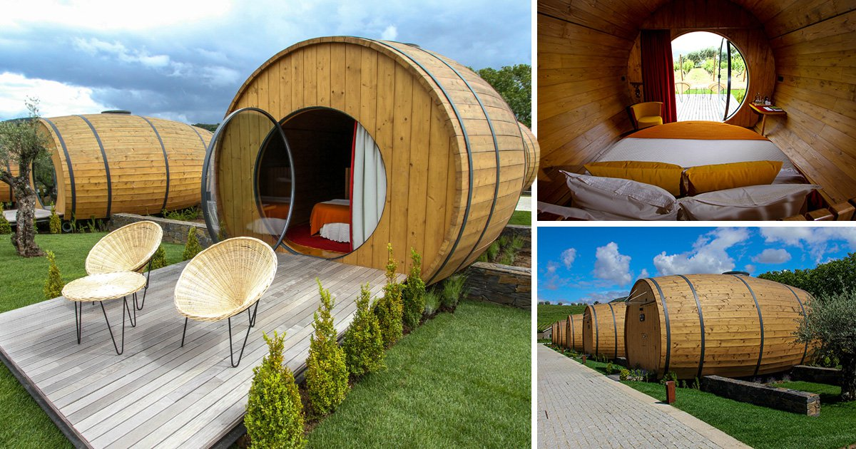 At this vineyard you can sleep inside a barrel after you sip your wine
