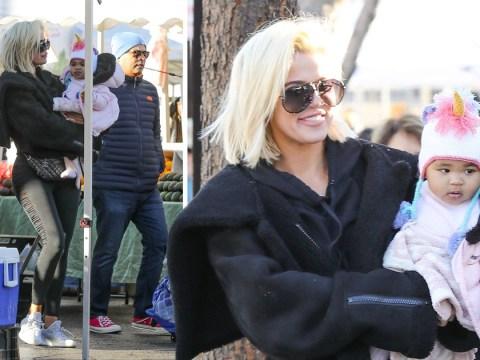 Khloe Kardashian all smiles with baby True at farmer's market amid Tristan Thompson break up claims