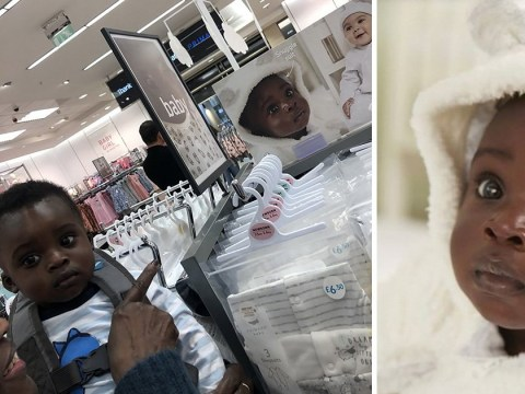 Primark's beautiful dark-skinned baby model sees himself in store for the first time