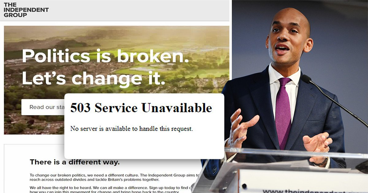 Independent.group website goes down minutes after Labour MPs quit