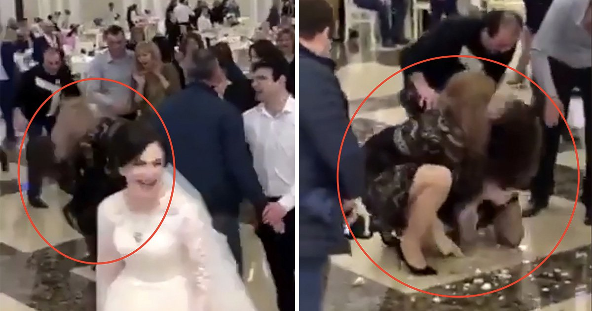 Women wrestle for bouquet in front of shocked wedding guests
