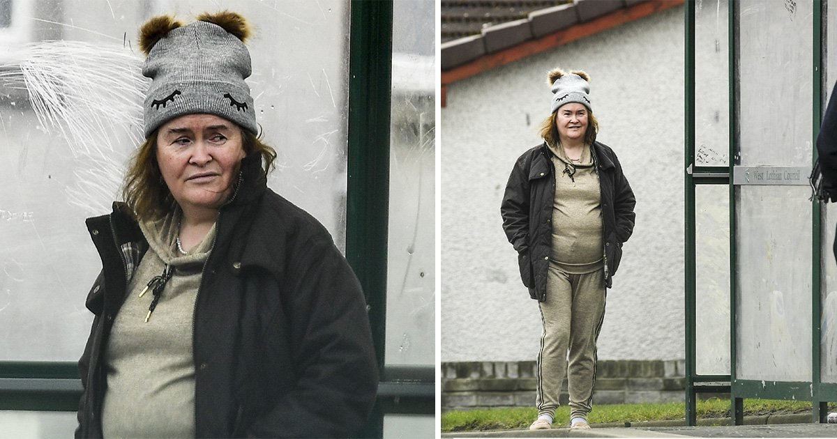 Susan Boyle waits for the bus and relishes in home life as she brushes off America's Got Talent: The Champions defeat