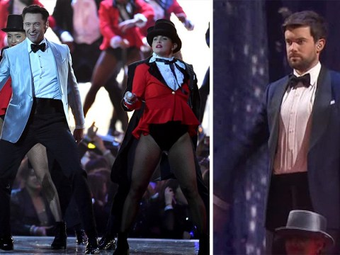 Jack Whitehall sneaks into Hugh Jackman's Brits 2019 performance of The Greatest Showman